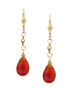 Charming Life 14k Goldfill Carnelian Teardrop Briolette Earrings