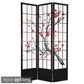 Wood and Rice Paper Cherry Blossom 84-inch Shoji Screen (China)