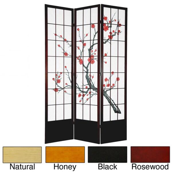 Wood and Rice Paper Cherry Blossom 84-inch Shoji Screen (China)