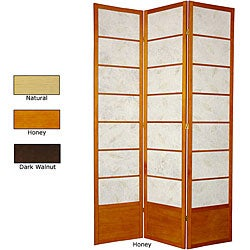 Wood and Rice Paper Botanic 84-inch Shoji Screen (China)
