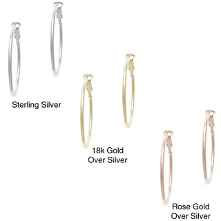 Mondevio Tarnish-free Sterling Silver Clip-in Closure Polished Hoop Earrings