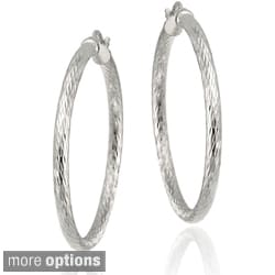 Mondevio Sterling Silver 35 mm Diamond-cut Hoop Earrings