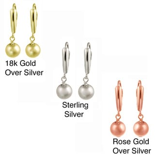Mondevio Sterling Silver/ Gold Over Silver Shield and Bead Dangle Earrings