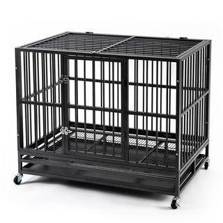 Ainfox42''Heavy Duty Dog Cage Strong Metal Kennel Dog Kennel