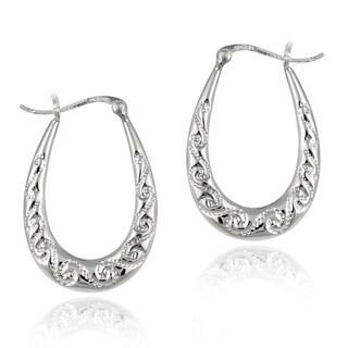 Mondevio Sterling Silver Scroll Design Hoop Earrings