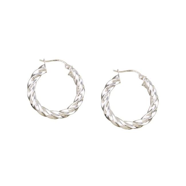 Mondevio Sterling Silver Corrugated Hoop Earrings