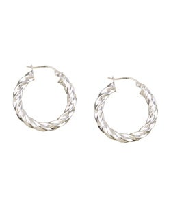Mondevio Sterling Silver Corrugated Hoop Earrings
