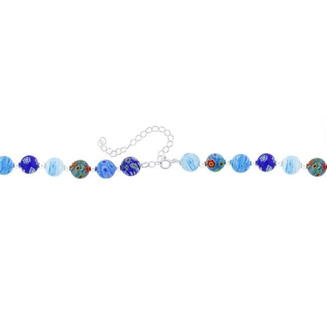 Glitzy Rocks Sterling Silver Blue Venetian Glass Bead Necklace