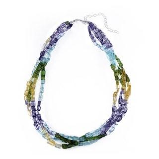 Glitzy Rocks Semi-precious Torsade Rainbow Necklace