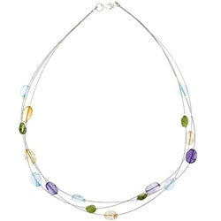 Glitzy Rocks Semi-precious Gemstone 'Illusion' Necklace