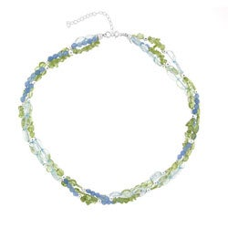 Glitzy Rocks Sterling Silver Blue Quartz and Peridot Necklace