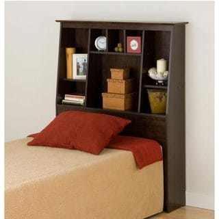 Everett Espresso Full/Queen Tall Slant-Back Wood Bookcase Headboard