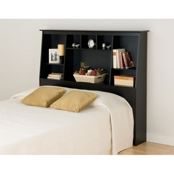 Broadway Black Full/Queen Tall Slant-back Bookcase Headboard