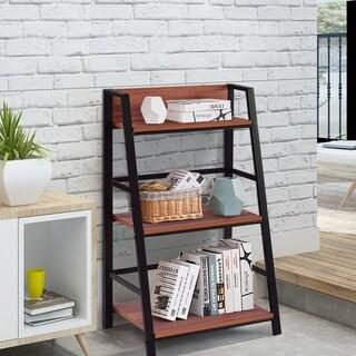 3 Tier Ladder Rack Storage Bookcase Modern Display Book Shelf