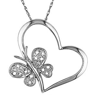 Miadora 10k Diamond Accent Heart and Butterfly Pendant with Bonus Earrings