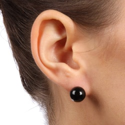 Kabella 14k Yellow Gold Black Onyx Stud Earrings