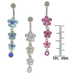 CGC Jeweled Flower 14-gauge Belly Ring