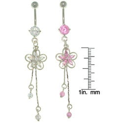 CGC Cubic Zirconia Jeweled-flower Stainless Steel Dangle Belly Ring