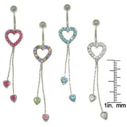 CGC Pave Heart 14-gauge Dangle Belly Ring