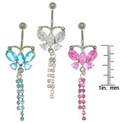 CGC CZ Butterfly and Crystal 14-gauge Belly Ring