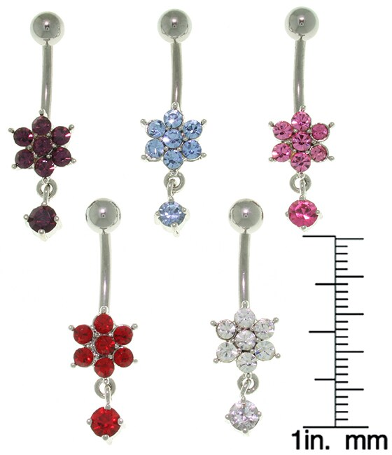CGC Flower with Solitaire Dangle 14-gauge Belly Ring