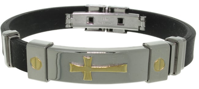 CGC Stainless Steel and Rubber Cross Bracelet