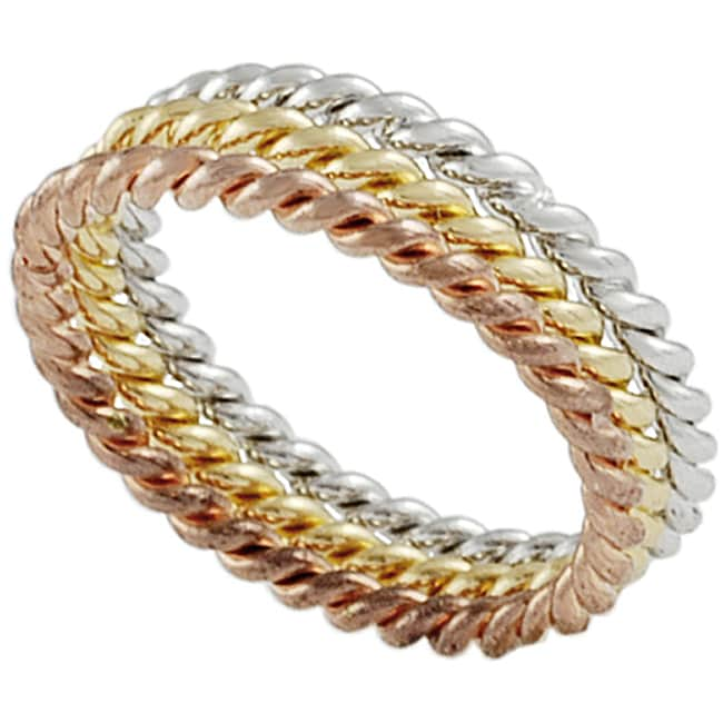 Journee Collection Sterling Silver, Copper and Gold Tri-color Ring