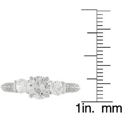 Tressa Collection Sterling Silver Three stone CZ Bridal & Engagement Ring
