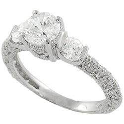Journee Collection Sterling Silver Three stone CZ Bridal & Engagement Ring