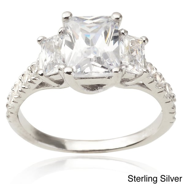 Journee Collection Sterling three stone CZ Bridal & Engagement Ring