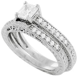 Tressa Collection Sterling Silver Princess-cut CZ Bridal & Engagement Ring Set