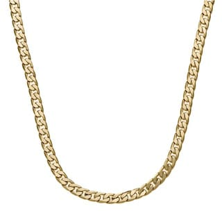 Simon Frank 14k Yellow Gold Overlay 7mm Cuban Necklace (20-inch)