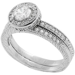 Tressa Sterling Silver Round Cut CZ Bridal Ring Set