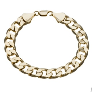 Simon Frank 14k Yellow Gold Overlay 9-inch Cuban Bracelet 12mm