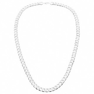 Simon Frank 14k White Gold Overlay 30-inch Cuban Necklace 7mm