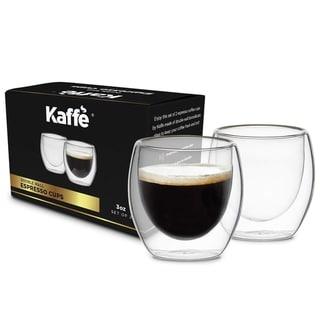 KF4040 Espresso Mugs Set of 2 3oz Cups Double-Wall Borosilicate Glass