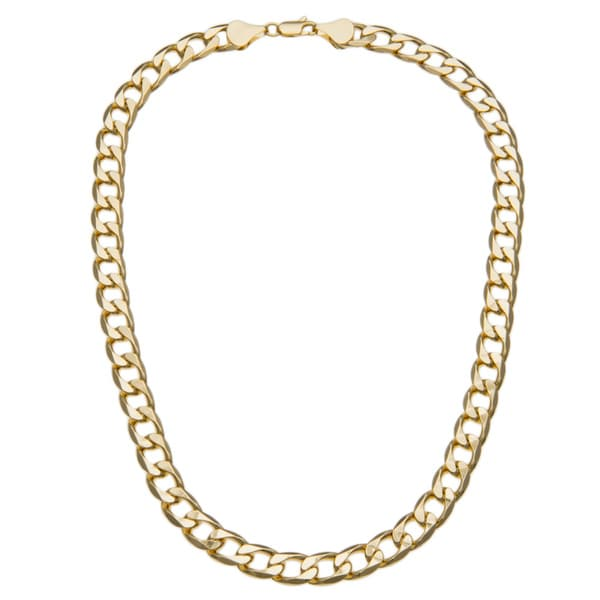 Simon Frank 14k Yellow Gold Overlay 12mm Cuban Necklace (24-inch)
