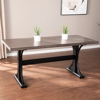 The Gray Barn Bian Transitional Gray Wood Dining Table
