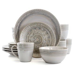 Gibson Elite Amberdale 16 Piece Stoneware Dinnerware Set in Cream
