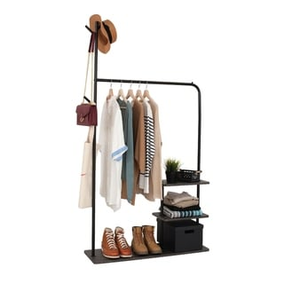 Garment Rack with 3-Tier Wood Storage Shelves and Coat Hanger, Freestanding Closet in Metal Industrial Style, Black and Brown