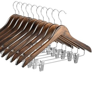 High-Grade Wooden Suit Hangers Skirt Hangers with Clips (10 Pack) Solid Wood Pants Hangers, Notches for Dress Coat, Jacket
