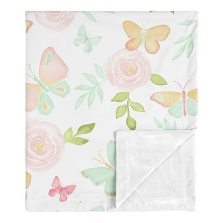Butterfly Floral Collection Girl Baby Receiving Security Swaddle Blanket - Blush Pink Mint White Shabby Chic Watercolor