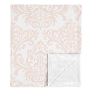 Damask Girl Baby Receiving Security Swaddle Blanket - Blush Pink and White Amelia Collection
