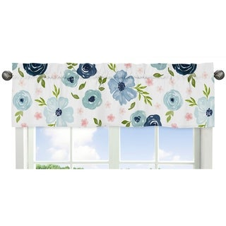 Navy Blue and Pink Watercolor Floral Window Curtain Valance - Blush, Green and White Shabby Chic Rose Flower