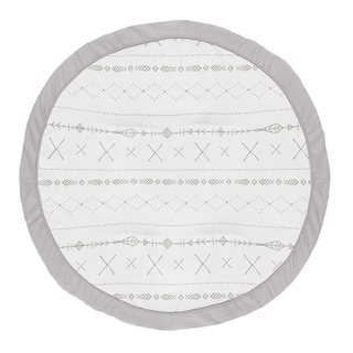 Grey Boho Collection Boy or Girl Baby Tummy Time Playmat - Gray and White Woodland Forest Tribal Arrow Unisex