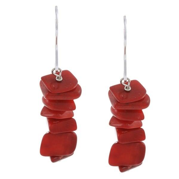 Glitzy Rocks Sterling Silver Sea Bamboo Coral Dangle Earrings