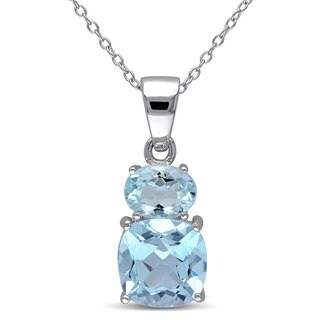 Miadora Sterling Silver Sky Blue Topaz Necklace
