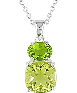 Miadora Sterling Silver Lemon Quartz and Peridot Necklace
