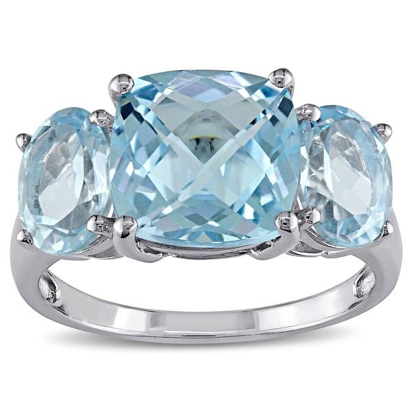 Miadora Sterling Silver Sky Blue Topaz Ring