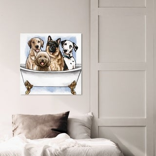 Oliver Gal Animals Wall Art Canvas Prints 'Big Pups in The Tub' Dogs and Puppies - Brown, White